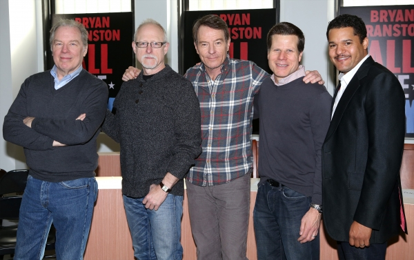 Michael McKean, Playwright Robert Schenkkan, Bryan Cranston, Director Bill Rauch and Brandon J. Dirden