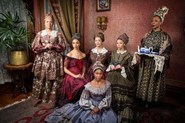 The cast: Petronia Paley (La Veuve / Marie Josephine), Tiffany Rachelle Stewart (Agnès), Lizan Mitchell (Beartrice), Flor de Liz Perez (Maude Lynn), Joniece Abbott-Pratt (Odette), and Harriett D. Foy (Makeda).