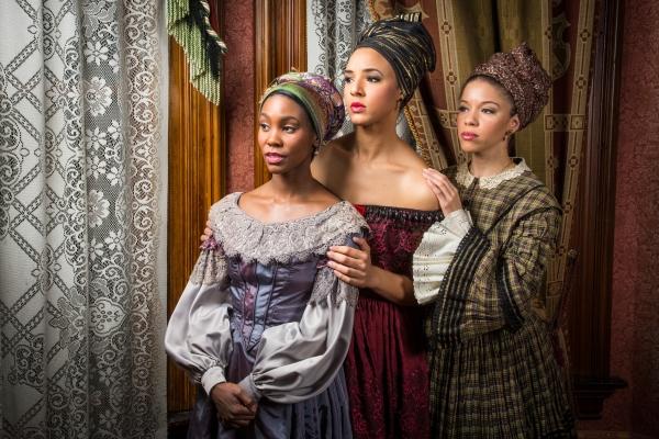 At Berkeley Rep leading actors Joniece Abbott-Pratt (Odette), Tiffany Rachelle Stewart (Agnès), and Flor de Liz Perez (Maude Lynn) portray three sisters