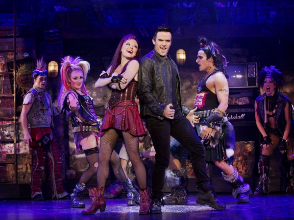 The cast of the national tour of We Will Rock You. Photo by Paul Kolnik.