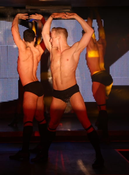 Ryan Worsing and dancers perform in Broadway Bares: Winter Burlesque - Calendar Girl at XL Nightclub on January 26, 2014 in New York City.