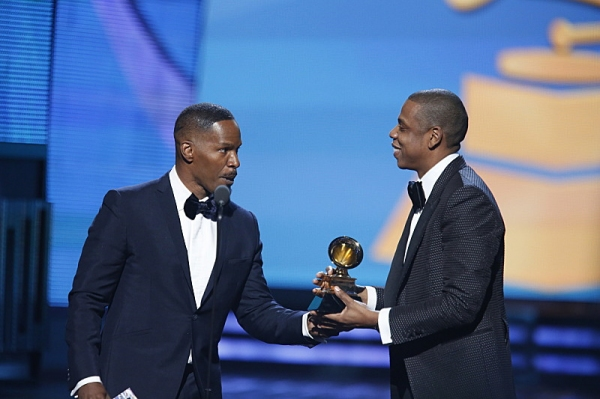 Jamie Foxx and Winner, Jay-Z during THE 56TH ANNUAL GRAMMY AWARDS music industry''s premier event takes place Sunday, Jan. 26 (8:00-11:30 PM, live ET/delayed PT) at STAPLES Center in Los Angeles on the CBS Television Network.  Photo: Cliff Lipson/CBS �'