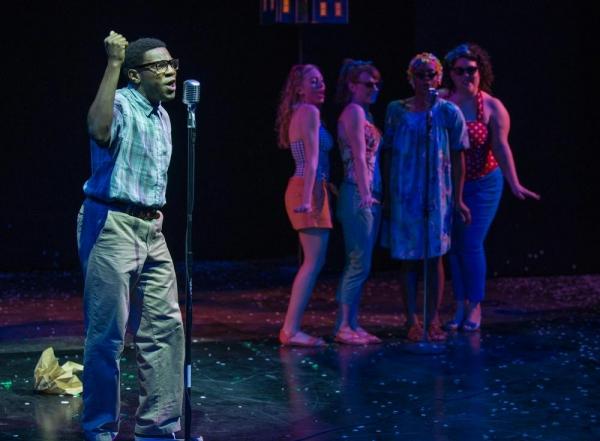 Brandon Markel Holmes as Jimmy with back up singers Christine Mayland Perkins, Kara D Photo