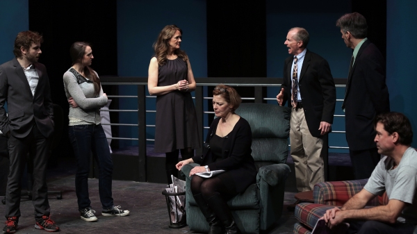 Jessie Leighton as Chris, Allison McCall as Kenni, Kathleen Kimball as Ginger, Laura Houck (seated) as Becky, Wil Kilroy as Steve, Paul Haley as Walter and Paul Drinan (seated) as Joe