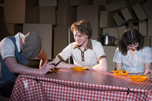 Christopher Webster (Father), George Mackay (Jack) and Ruby Bentall (Julie) in The Cement Garden. Photo by Rebecca Pitt.
