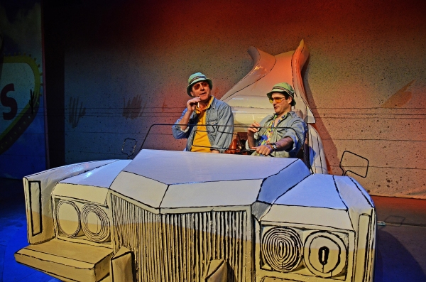 John Chancer (Narrator) and Ed Hughes (Raoul Duke) in Fear and Loathing in Las Vegas. Photo by Nobby Clarke.
