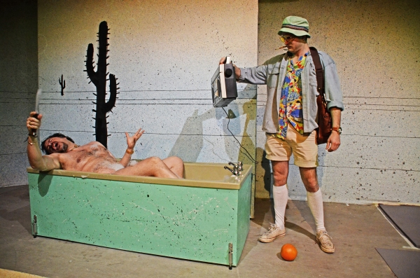 Rob Crouch (Dr Gonzo) and Ed Hughes (Raoul Duke) in Fear and Loathing in Las Vegas. Photo by Nobby Clarke.