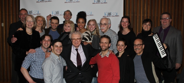Sheldon Harnick, James Morgan, Andrew Levine and the cast