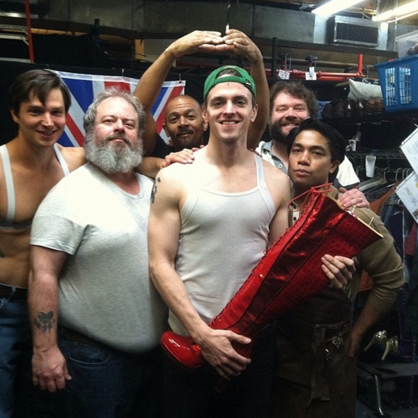 Photo Flash: Saturday Intermission Pics, Feb 1 - Broadway's 'Manly Mormons' Prep for Super Bowl Sunday; Plus MATILDA, KINKY BOOTS & More!