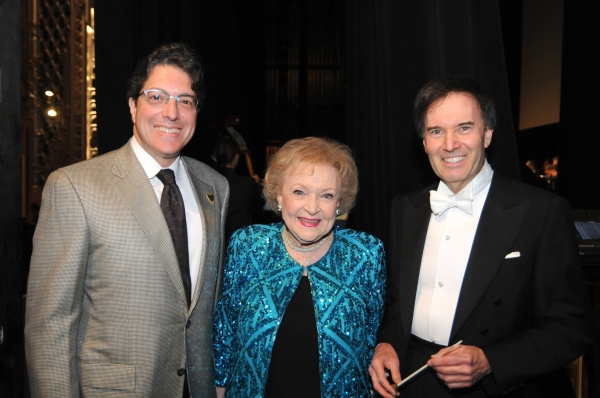 Beverly Hills Mayor John A. Mirisch, actress and Beverly Hills High School alumna Betty White and LA Lawyers Philharmonic founder-conductor Gary S. Greene