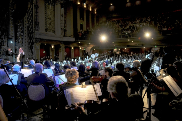 Capacity crowd of 1,800 at the Saban Theatre for the Beverly Hills Centennial Concert with Maestro Gary S. Greene conducting the LA Lawyers Philharmonic for the program''s finale with the Beverly Hills Marching Band performing 76 Trombones from The Music