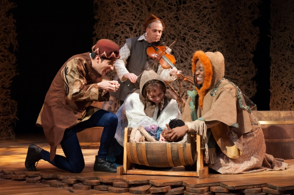 Jason Glass (King), Anthony Hyatt (Fiddler), Kathryn Kelly (Mess), and Katherine Turner (Miller''s Daughter)