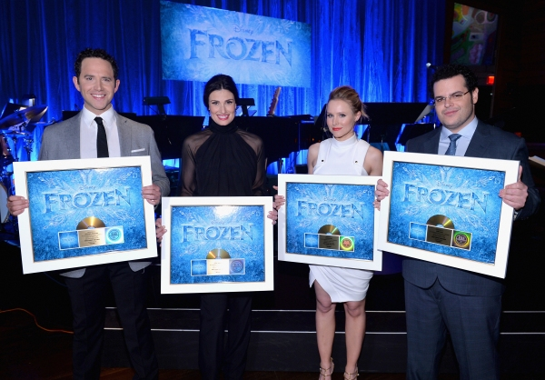 LOS ANGELES, CA - FEBRUARY 09: The cast of Disney''s ''Frozen'' were presented with gold records commemorating the success of the ''Frozen'' soundtrack. FOR THE FIRST TIME IN FOREVER, the music of Disney''s �Frozen� was celebrated with live perf