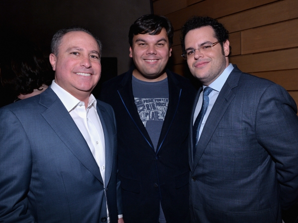 LOS ANGELES, CA - FEBRUARY 09: (L-R) Alan Bergman, President, Walt Disney Studios, songwriter Robert Lopez and actor Josh Gad attend The Celebration Of The Music Of Disney''s ''Frozen''. FOR THE FIRST TIME IN FOREVER, the music of Disney''s ï�¿½Frozenï
