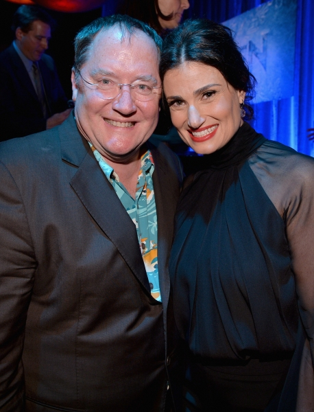 LOS ANGELES, CA - FEBRUARY 09: Executive producer John Lasseter (L) and actress Idina Menzel attend The Celebration Of The Music Of Disney''s ''Frozen''. FOR THE FIRST TIME IN FOREVER, the music of Disney''s ï�¿½Frozenï�¿½ was celebrated with live per
