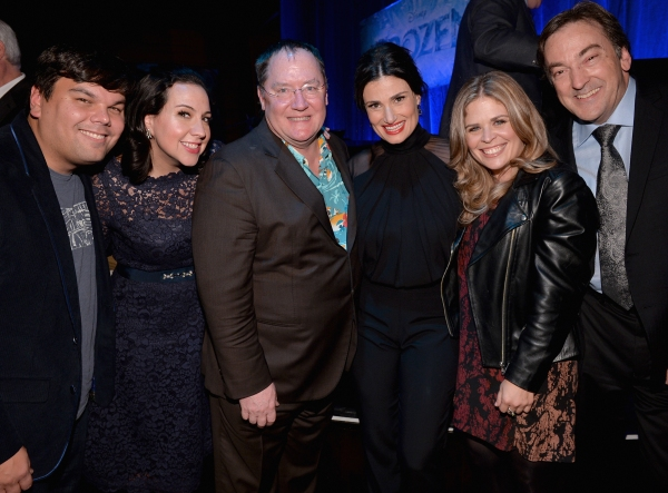 LOS ANGELES, CA - FEBRUARY 09:  (L-R) Songwriters Robert Lopez, Kristen Anderson-Lopez, executive producer John Lasseter, actress Idina Menzel and directors Jennifer Lee and Chris Buck attend The Celebration Of The Music Of Disney''s ''Frozen''. FOR THE F