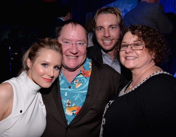 LOS ANGELES, CA - FEBRUARY 09:  (L-R) Actress Kristen Bell, executive producer John Lasseter, actor Dax Shepard and Nancy Lasseter attend The Celebration Of The Music Of Disney''s ''Frozen''. FOR THE FIRST TIME IN FOREVER, the music of Disney''s ï�¿½Fro