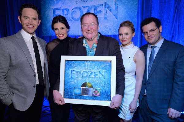 LOS ANGELES, CA - FEBRUARY 09: Executive producer John Lasseter (C) and the cast of Disney''s ''Frozen'' were presented with gold records commemorating the success of the ''Frozen'' soundtrack. FOR THE FIRST TIME IN FOREVER, the music of Disney''s �F