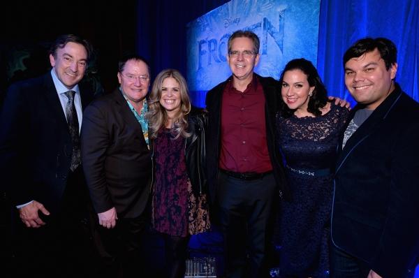 LOS ANGELES, CA - FEBRUARY 09:  (L-R) Producer Peter Del Vecho, executive producer John Lasseter, directors Jennifer Lee and Chris Buck and songwriters Kristen Anderson-Lopez and Robert Lopez attend The Celebration Of The Music Of Disney''s ''Frozen''. FO