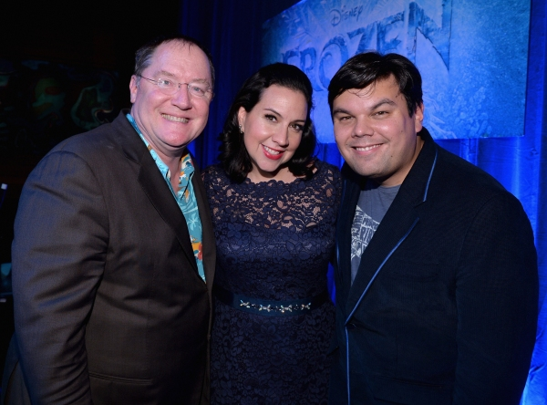 LOS ANGELES, CA - FEBRUARY 09:  (L-R) Executive producer John Lasseter and songwriters  Kristen Anderson-Lopez and Robert Lopez attend The Celebration Of The Music Of Disney''s ''Frozen''. FOR THE FIRST TIME IN FOREVER, the music of Disney''s ï�¿½Frozen