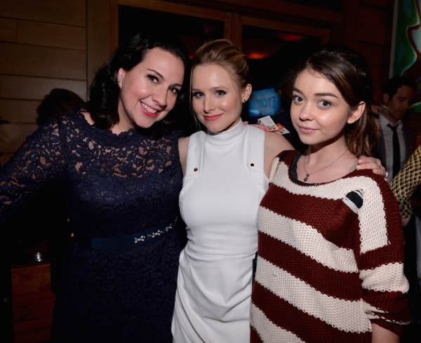 LOS ANGELES, CA - FEBRUARY 09: (L-R) Songwriter Kristen Anderson-Lopez, actress Kristen Bell and actress Sarah Hyland attend The Celebration Of The Music Of Disney''s ''Frozen''. FOR THE FIRST TIME IN FOREVER, the music of Disney''s �¿�Frozen�¿� was celeb
