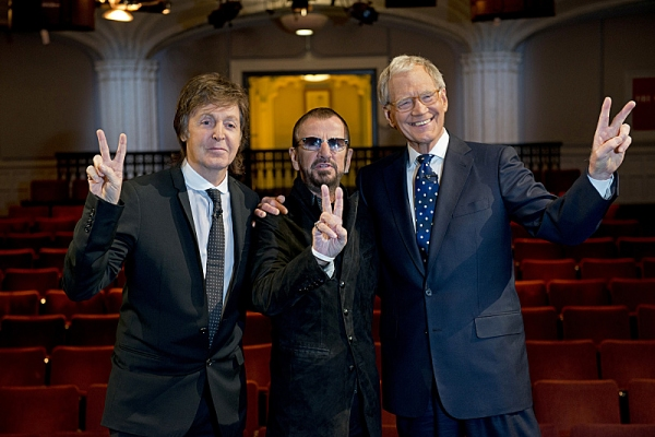 David Letterman (right) interviews Paul McCartney (left) and Ringo Starr (center) for a special interview to be featured in THE BEATLES: THE NIGHT THAT CHANGED AMERICA - A GRAMMYÃ�'ï�¿½Ã'ï�¿½Ã�'ï�¿½Ã'Â�® SALUTE, Sunday, Feb. 9 (8:00 PM-10:3
