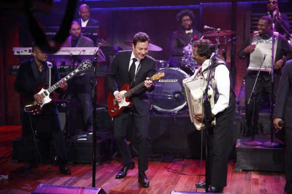 LATE NIGHT WITH JIMMY FALLON -- Episode 969 -- Pictured: Jimmy Fallon, Buckwheat Zydeco, The Roots -- (Photo by: Lloyd Bishop/NBC)