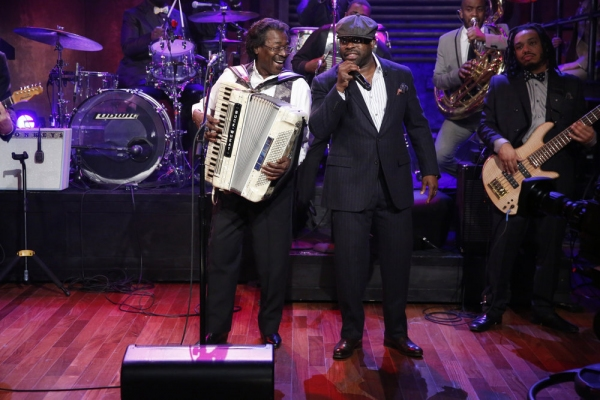 LATE NIGHT WITH JIMMY FALLON -- Episode 969 -- Pictured: Buckwheat Zydeco, The Roots -- (Photo by: Lloyd Bishop/NBC)