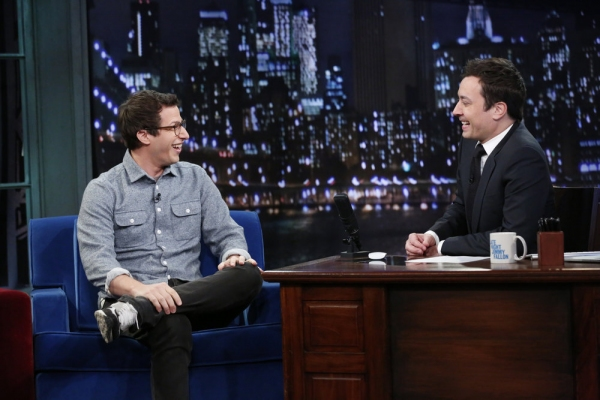 LATE NIGHT WITH JIMMY FALLON -- Episode 969 -- Pictured: (l-r) Andy Samberg, Jimmy Fallon -- (Photo by: Lloyd Bishop/NBC)