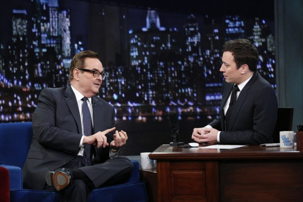 LATE NIGHT WITH JIMMY FALLON -- Episode 969 -- Pictured: (l-r) Higgins, Jimmy Fallon -- (Photo by: Lloyd Bishop/NBC)