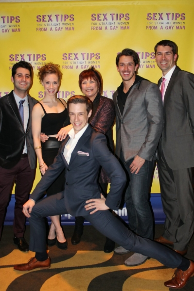 Director Tim Drucker, Lindsay Nicole Chambers, Maggie Berman (co-author of the book on which the show is based), Andrew Brewer, and playwright/producer Matt Murphy; with Jason Michael Snow (front).