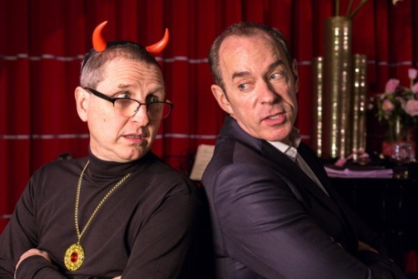 Adam Long (Satan) and Mark Caven (Satan''s manager, Robert Schifrin)