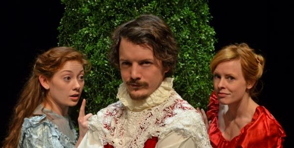 Erica Knight (Lucere), Brian Sheppard (Dorante), and Dana Gartland (Clarice)