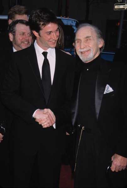 Sid Caesar with Noah Wylie attend the NBC  75th Anniversary Party in New York City on May 5, 2002