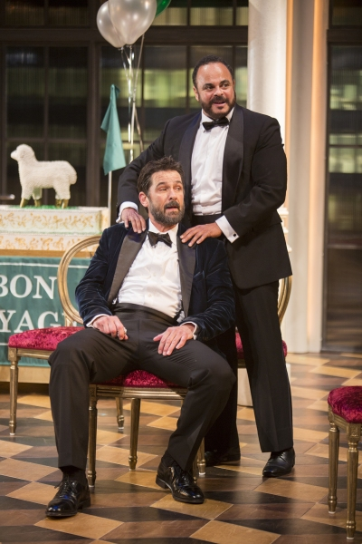 Billy Campbell as Leontes and Cornell Womack as Camillo