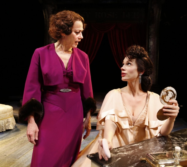 Rose (Louise Pitre) challenges the choices of Louise (Jessica Rush), now famed burlesque performer 'Gypsy Rose Lee'.