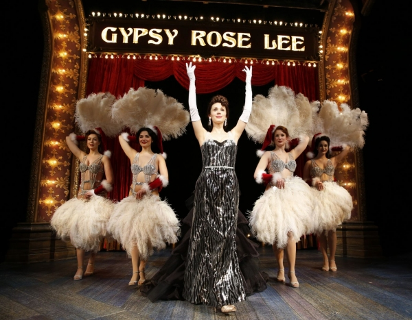 Gypsy Rose Lee (Jessica Rush) emerges as a star flanked by Showgirls (left to right, Alex Grace Paul, Dana Parker, Lauren Roesner, Maddie DePorter) in her sultry 'Let Me Entertain You'.