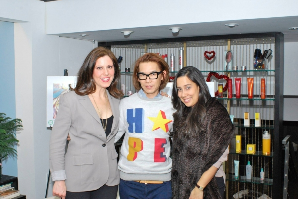 Sing for Hope Co-Founding Directors Camille Zamora and Monica Yunus pose with celeb stylist Piet (in his HOPE-inspired sweater!)