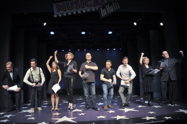 The Cast( L to R):  Nick Wyman, Robb Sapp, Christina Bianco, Cady Huffman, Brad Oscar, Robin de Jesús, David Ayers, Megan Lawrence and Conrad John Schuck