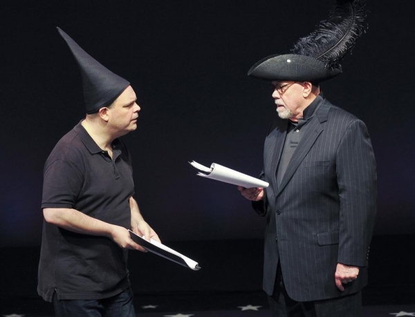 Brad Oscar as Sganarelle and Conrad John Schuck as Geronte