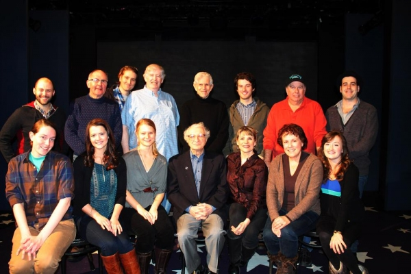 Nick Gaswirth, Reathal Bean, Anthony Blaha, Paul Murphy, Tony Roberts, Matt Dengler, David Green and Anthony Apicella;  (Seated, L to R Allison Carr, Rosemary Hemingway, Emily Daly, composer Sheldon Harnick, Nancy Johnston, Judy Kaye and Laura Darrell