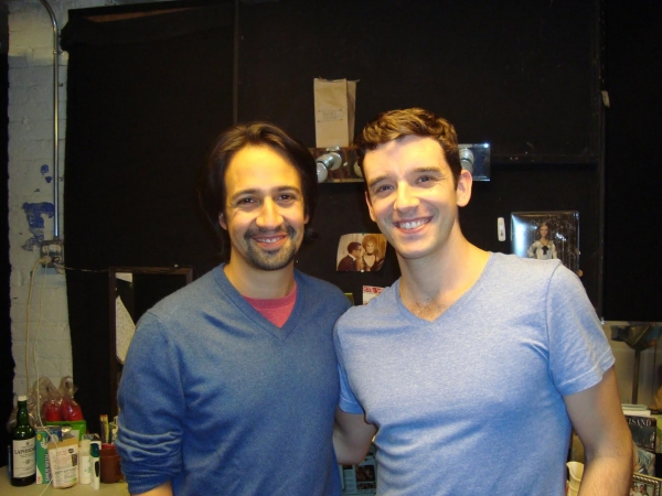 Photo Flash Exclusive: Lin-Manuel Miranda Visits Michael Urie at BUYER & CELLAR