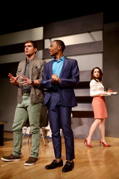 Tyler Wiseman (Charlie Fox), Alex Thompson (Gould), and Hannah Daly (Karen)