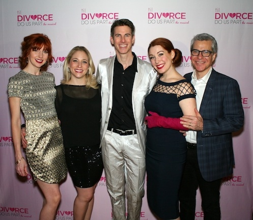 The cast of Til Divorce Do Us Part,  Erin Mcguire, Dana Wilson, John Thomas Fischer (who also wrote the music), Gretchen Wylder with director Mark Waldrop