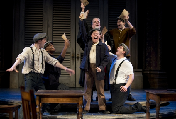 Bottom (center: Alex Weisman) eagerly leads the Mechanicals (left to right: Michael Finley, Justin Cornwell, Don Forston, Wesley Daniel, Max Fabian) in putting on a play for Theseus' nuptials