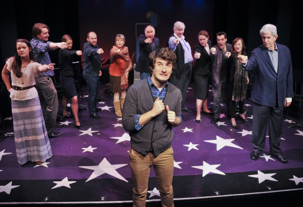 Matt Dengler (center) with the cast (L to R) Rose Hemingwayin, Anthony Blaha, Emily Daly, Nick Gaswirth, Nancy Johnston, Reathel Bean, Paul Murphy, Allison Carr, Anthony Apicella, Laura Darrell and Tony Roberts
