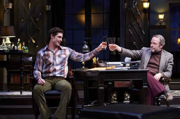 Actors Nick Steen (left, as the young writer Clifford Anderson) and Tom Ford (right, as the seasoned playwright Sidney Bruhl)