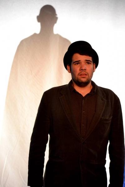 Julian Goza as The Beggar with Orlando Iriarte as The Heavenly