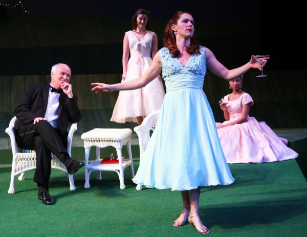 Leonato (David McCann), Margaret (Olivia Saccomanno) and Ursula (Khetanya Henderson) are entertained by Beatrice (Sarah Wintermeyer)