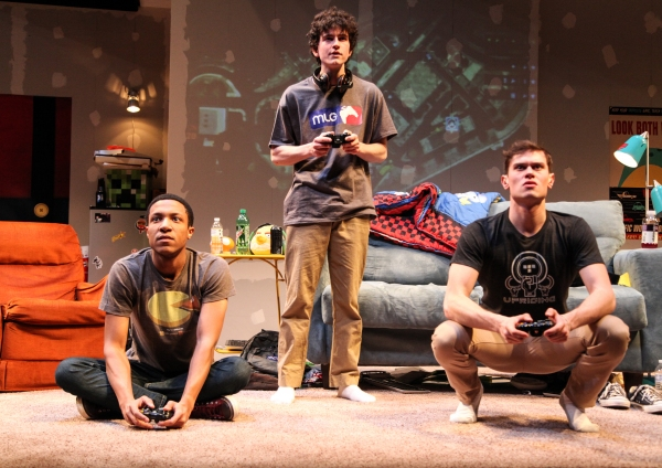 Chuck (Jerry MacKinnon), Ian (Clancy McCartney) and Zander (JJ Phillips) play a game together
